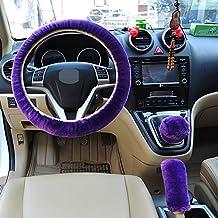 Pesp Non-slip Car Decoration Steering Wheel Handbrake Gear Shift Cover Plush New (Purple)