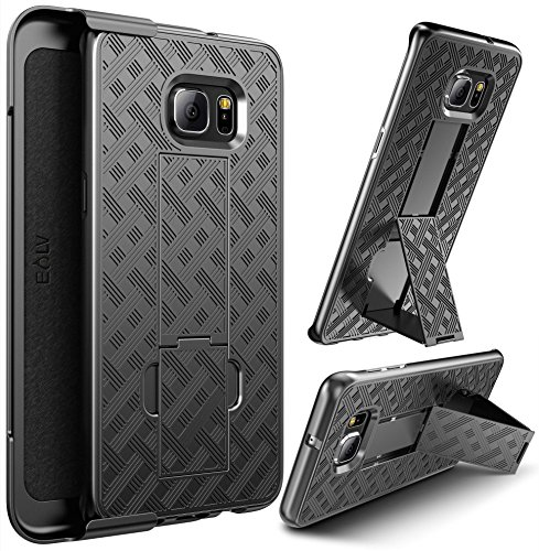 E LV Holster Case for Galaxy S6 Edge Plus - Shock Proof Impact Resistant Shell Holster with Belt Clip and Kickback Stand - Case Cover for Samsung Galaxy S6 Edge Plus