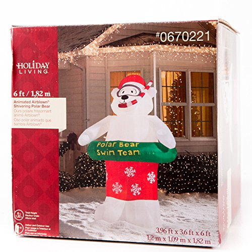 Gemmy Airblown Inflatable Animated Shivering Shaking Polar Bear Wearing a Mask Snorkel and Pool Floatie - Holiday Decoration, 6-foot Tall