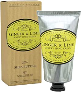 Naturally European Ginger And Lime Luxury Hand Cream Boxed 20% Shea Butter 75ml | Free From Parabens and SLS | For Sensative Skin