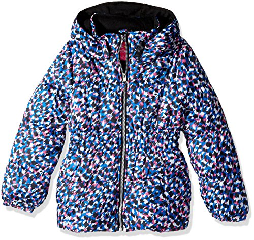 Pink Platinum Little Girls' Pretty Cheetah Puffer, Blue, 4