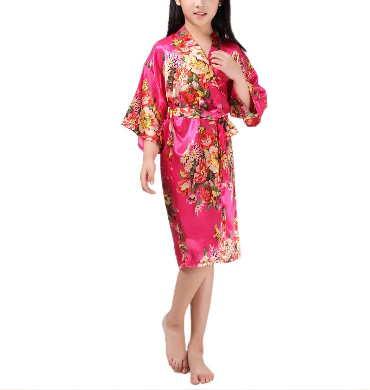 SexyTown Girls' Peacock Kimono Robe Satin Bridesmaid Sleepwear Wedding Nightgown (8/Height 39.4-43.3 inch, Style2-Rose Red)