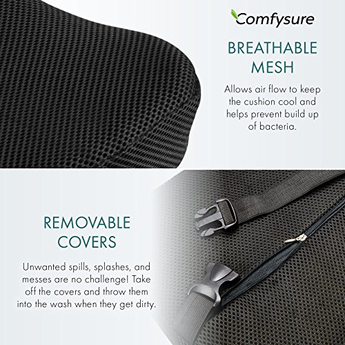 ComfySure Lumbar Support Seat Back Cushion – Memory Foam with Removable Mesh Cover - Lower Back Pain Relief, Helps Posture - Fits Most Office, Desk, Computer Chairs and Car Seats by ComfySure (Image #2)
