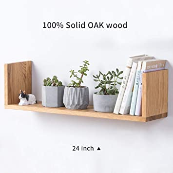 new product 97f77 f28fe INMAN Wooden Floating U Shaped Wall Shelves, Bookshelves Ledge Display Wall  Mount Small Sink Shelf Simple for Picture Frames Book Media Trophy (Oak, ...