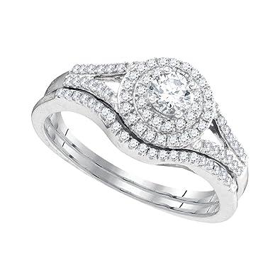 f6358d83194a7 Amazon.com: 10k White Gold Womens Round Diamond Concentric Halo ...