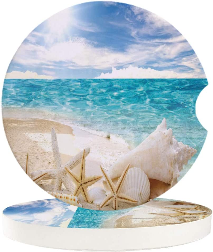 Car Cup Holder Coaster with Fingertip Grip, Ceramic Absorbent Cup Coaster for Drink, Sunshine Beach Shells Starfish Decor Accessories Coaster for Car Living Room Kitchen Office 2-Piece Set
