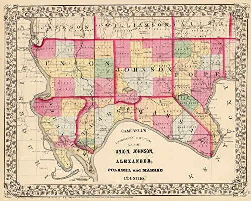 nion, Johnson, Alexander, Pulaski, Massac Counties. | Historic Antique Vintage Map Reprint ()