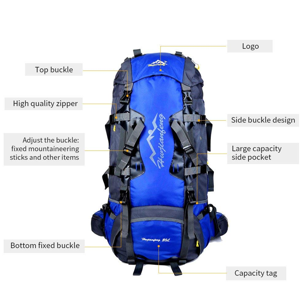 0d969cffddee Gohyo Backpack Internal Frame 80L Lightweight for Camping Backpacking Hiking  Travel Blue  Amazon.co.uk  Sports   Outdoors