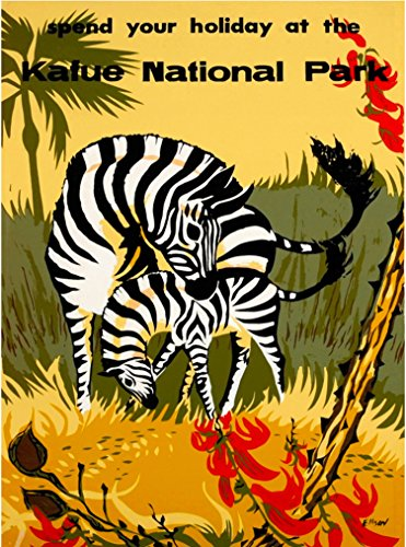 (A SLICE IN TIME Kafue National Park Zebra Zambia Africa Vintage African Travel advertisement Art Poster Print. Measures 10 x 13.5 inches)