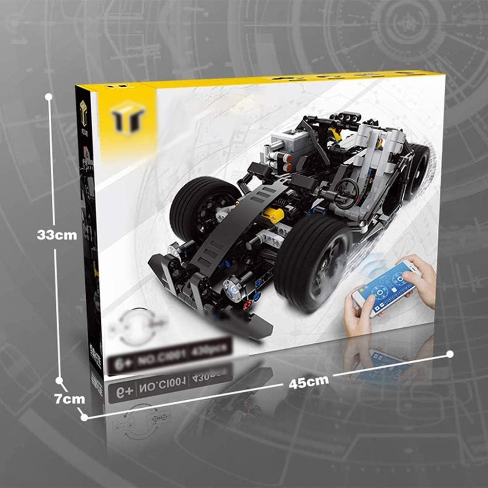 Zidao Arte telecomandato Formula 1 App / 2.4G Costruzione Blocchi Kit veicolare, 430 morsettiere Giochi di Costruzione Compatibile con Altri Technic Set Costruzione,Nero Black