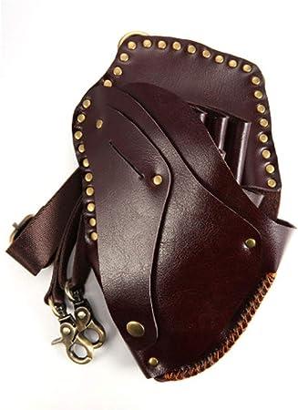 QXXNB Bolsas para Herramientas de Peluquero Cuero con Estuche para cinturón Funda de Tijera de peluquería Profesional Retro, marrón: Amazon.es: Hogar