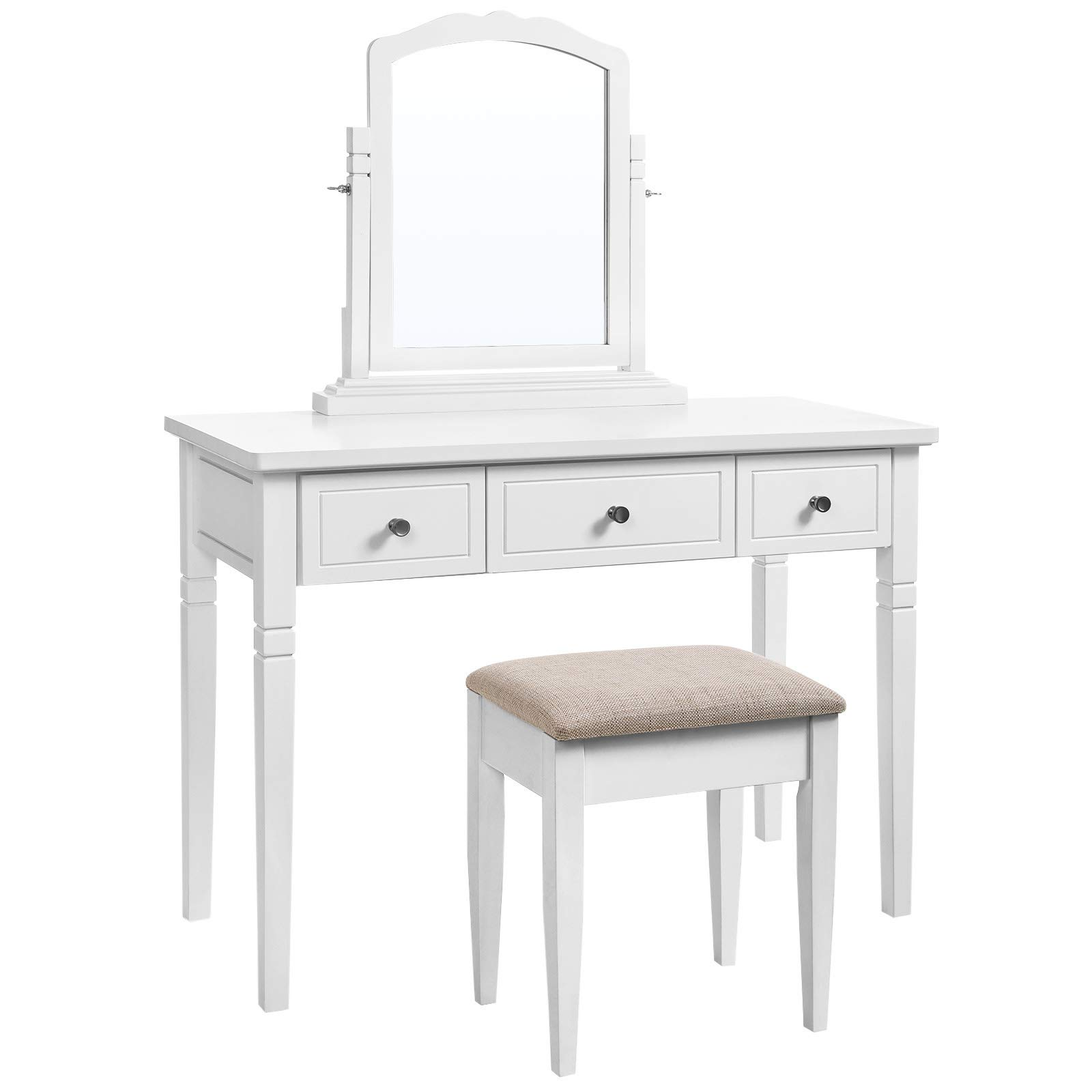 VASAGLE Vanity Set with 3 Big Drawers, Dressing Table with 1 Stool, Makeup Desk with Large Rotating Mirror, Makeup and Cosmetic Storage, Multifunctional, Easy to Assemble, White URDT106WT by VASAGLE