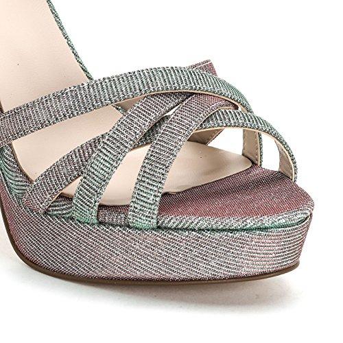 ALESYA by Scarpe&Scarpe - Sandalias altas de tela con brillantina y cruzadas, con Tacones 9 cm Argento