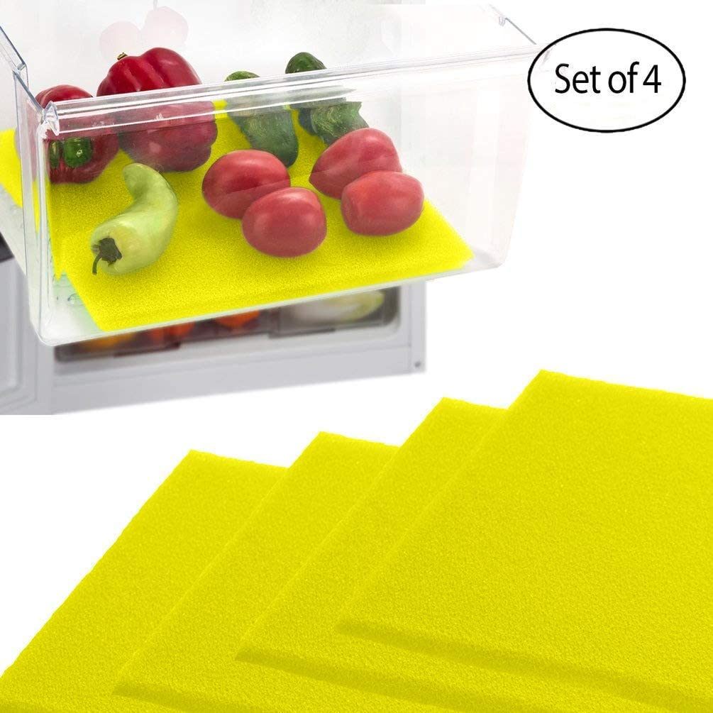 Dualplex Fruit & Veggie Life Extender Liner for Fridge Refrigerator Drawers, 12 x 15 Inches (4 Pack) – Extends The Life of Your Produce Stays Fresh & Prevents Spoilage, Yellow