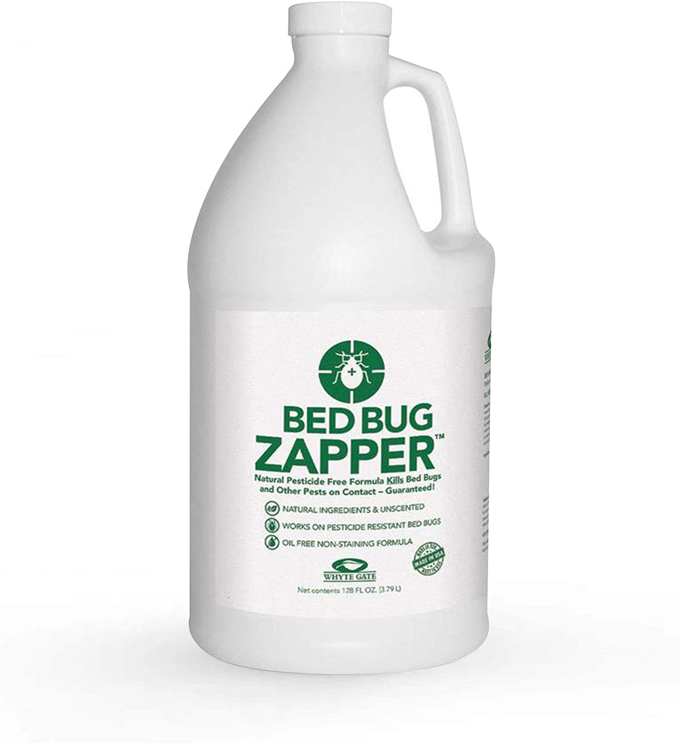 Whyte Gate Bed Bug Zapper, Natural Bed Bug Spray, Dust Mite and Flea Killer Spray for Home, Kills On Contact, Stain & Odor Free, 1 Gallon