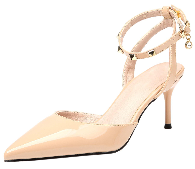 BIGTREE Spitze Zehen Slingback Damen Niete Sandalen von Knöchelriemchen Silber High Heels Kleid Pumps 34 EU XIpD2bJen