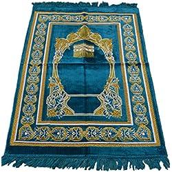 Prayer Rug Made in Turkey with Fine Soft Velvet Superior Quality Aqua