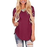 Women's Summer Shirt V-Neck Curved Hem Short Sleeve Blouse