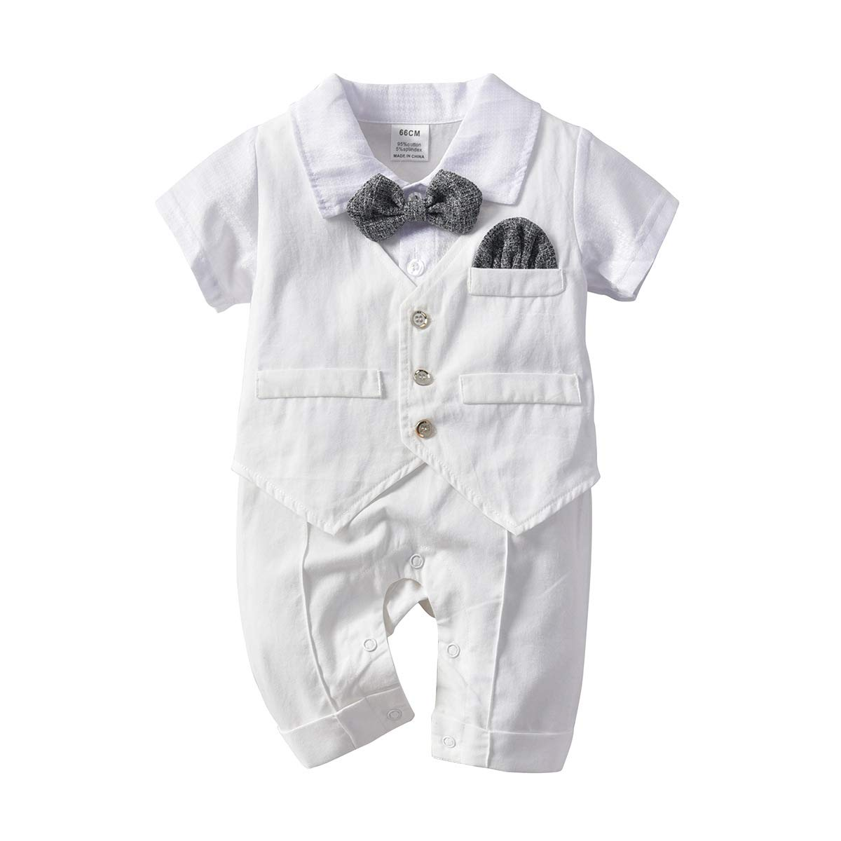 Newborn Short Sleeves Jumpsuit Overall Outfit Baby Boy Gentleman Romper with Tuxedo Bowtie