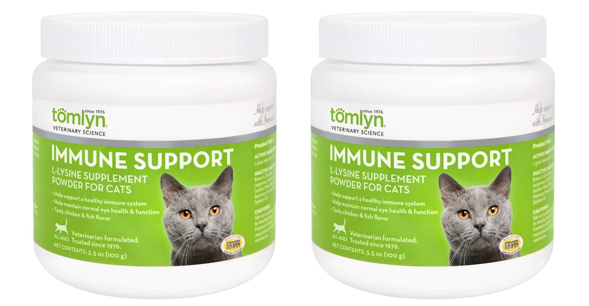 Tomlyn 2 Pack of Immune Support L-Lysine Powder, 100 Grams each, for Cats, Supports Respiratory and Eye Health