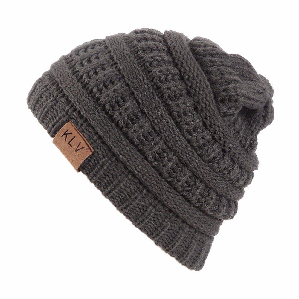 Tuu Unisex Warm Knit Ski Beanie Hat Winter Skull Slouchy Caps (Brown)