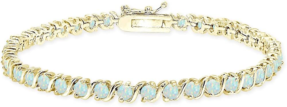 Choose a Color Created or Simulated Gemstone S Design Bar Classic Tennis Bracelet Sterling Silver Genuine