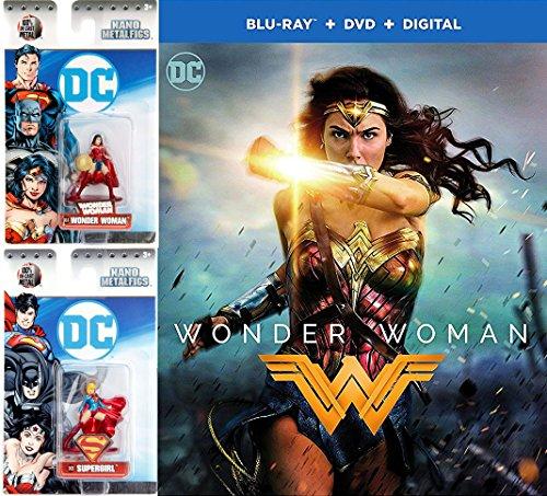 (DC Figure Movie Pack Super Hero Wonder Woman (DVD + Blu-ray + Digital) Wonder Woman & Supergirl Nano Metal Figures Movie Bundle Set)