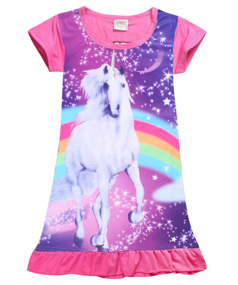 Kids Girl's Unicorn Top T-Shirt Dress Nightwear Nightdress Pajamas Nightie Dress 4-10Y
