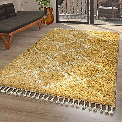 TT Home Alfombra Pelo Largo Amarilla Salón Suave Motivo Oriental Shaggy Estilo Bereber, Größe:60x100 cm: Amazon.es: Hogar
