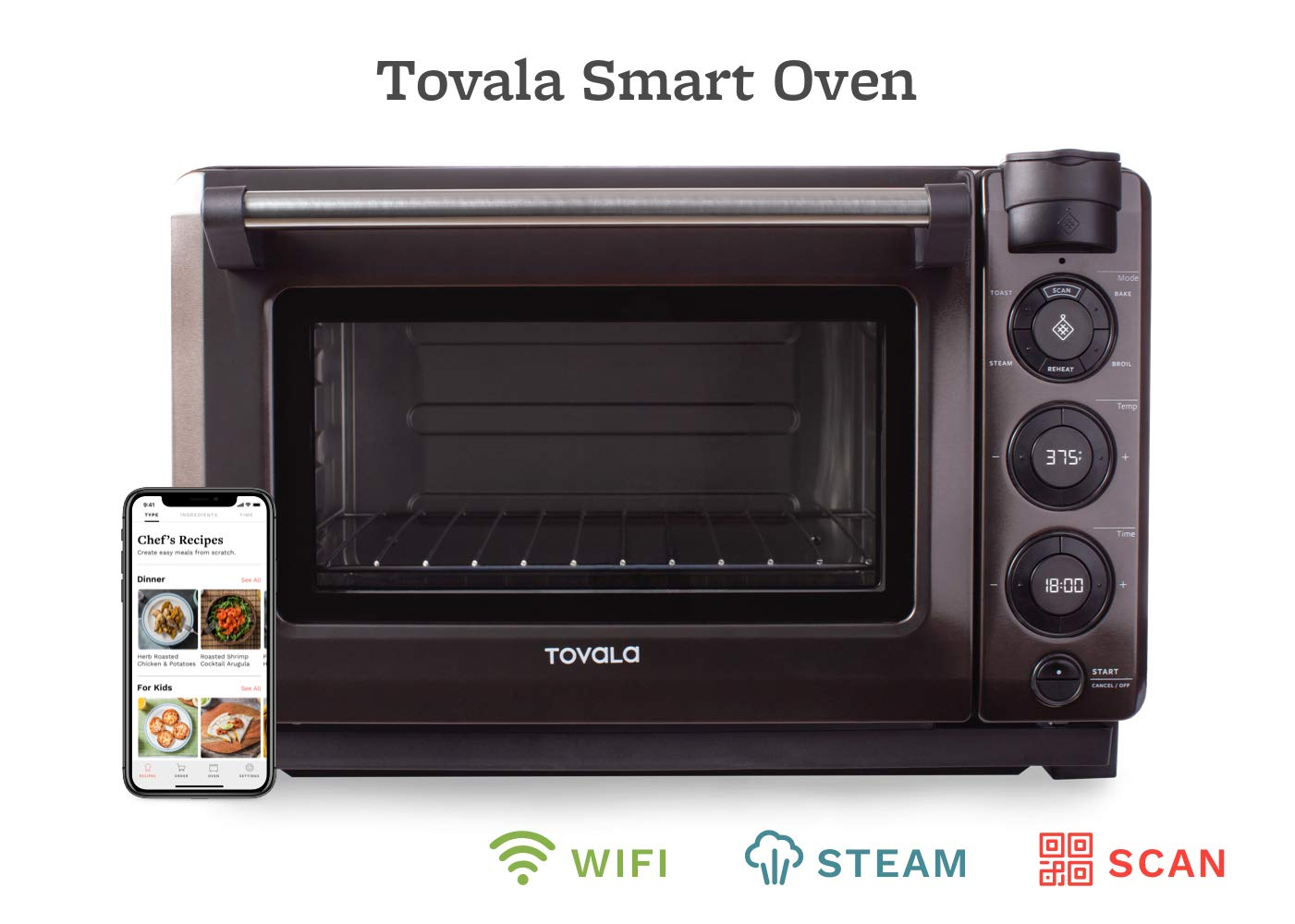 Tovala Gen 2 Smart Steam Oven | Countertop WiFi Oven | 5 Mode Programmable Oven | Toast, Steam, Bake, Broil and Reheat | Black & Stainless Steel Convection Oven by Tovala