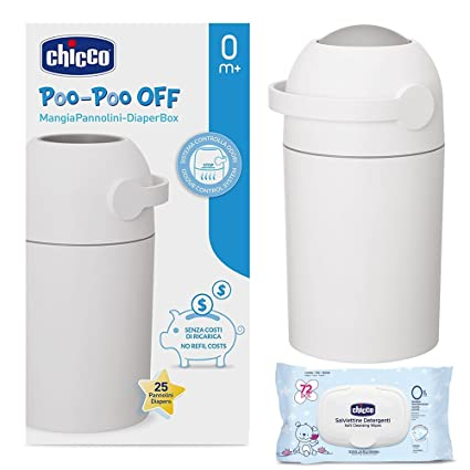 CHICCO Starter-Set: Cubo para pañales Odour Off, Plata – geruchsdichtes Sistema,