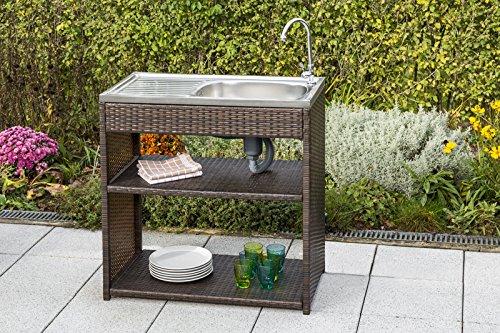 Outdoorküche Garten Edelstahl Xl : Gartenspüle aus metall polyrattan mit edelstahlbecken