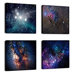 Natural art -Outer Space Starlight Wall Painting Prints on Canvas Wall Decoration Wooden Frames Canvas 4pcs/set
