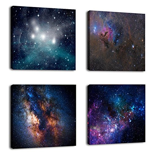 Natural art –Outer Space Starlight Wall Painting Prints on Canvas Wall Decoration Wooden Frames Canvas 4pcs/set -