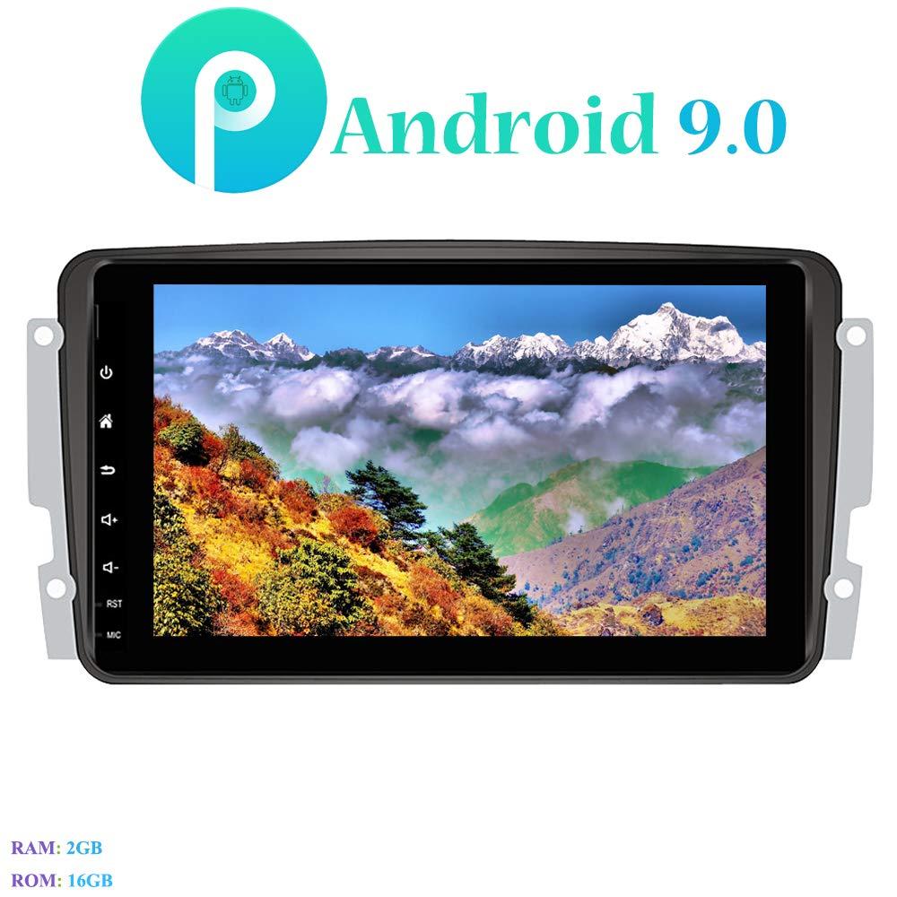 Hi-azul 8 Pouces Car Radio Navigation GPS 4-Core St/ér/éo Voiture pour Mercedes-Benz CLK-W209 C209// CLK W203// Viano//Vito//A-Class W168 Android 9.0 Autoradio avec Cam/éra de Recul et DVR