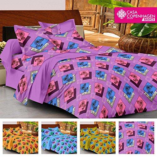 Casa Copenhagen- Basic 144 Thread Count 100% Cotton Double Bedsheet With 2 Pillow Cove