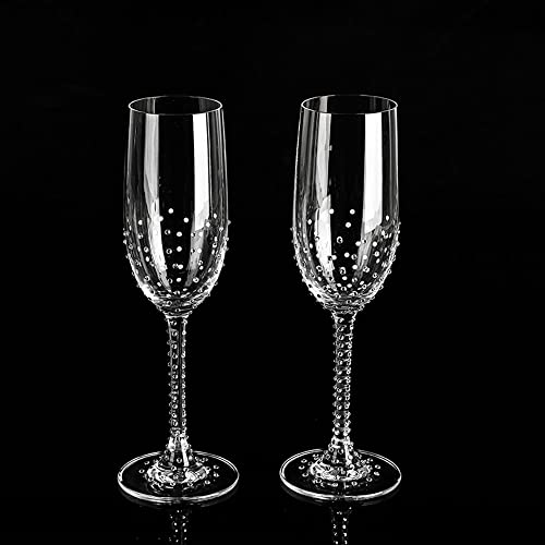 1a95b55ff9 Image Unavailable. Image not available for. Color: Custom Swarovski Crystal  Embellished Stem + Base Standard Toasting Flutes ...