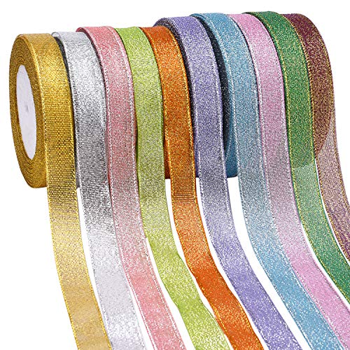 Livder 10 Rolls 3/5 Inch Width Metallic Glitter Ribbon for Holiday Wedding Party Decoration Gift Wrapping