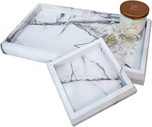 Roomfitters Marble Print Vanity Tray Set, Best Bathroom Catchall Trays for Jewelry Perfume, Upgraded Version Water Resistant, Anti-Scratch