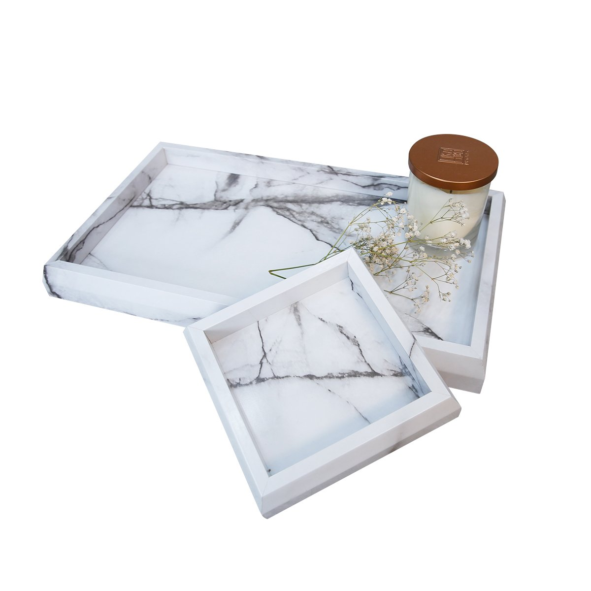 Roomfitters Marble Print Vanity Tray Set, Best Bathroom Catchall Trays for Jewelry Perfume, Upgraded Version Water Resistant, Anti-Scratch by Roomfitters (Image #1)