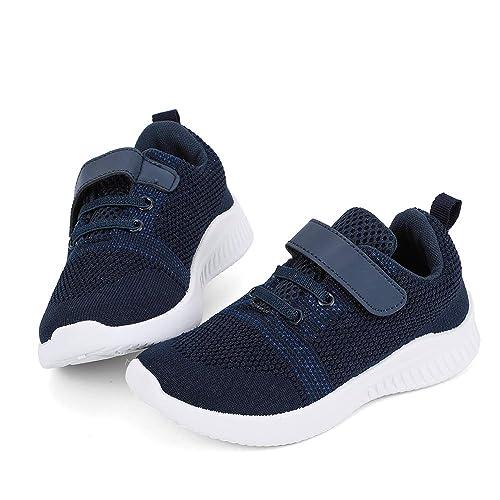 the latest f7055 06ef9 HKR Kinder Schuhe Sportschuhe Atmungsaktiv Turnschuhe Klettverschluss  Sneakers für Jungen Mädchen Blau Grau Pink Violett EU 24-35