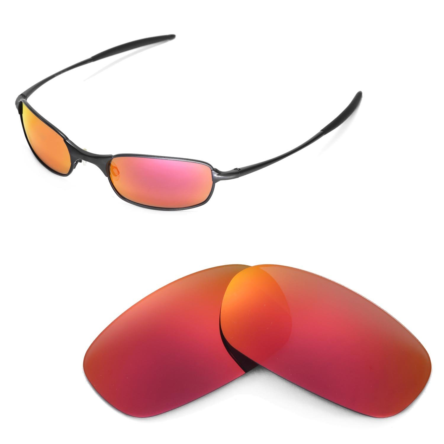 c613dc19d6 Walleva Polarized Fire Red Replacement Lenses for Oakley Square Wire 2.0   Amazon.in  Clothing   Accessories