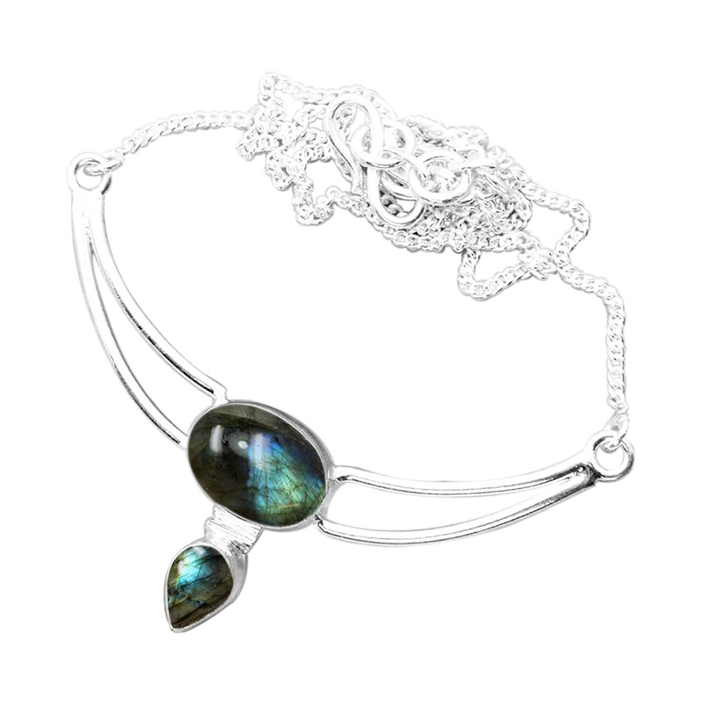 925 Silver Plated 7.50ctw Genuine Labradorite Necklace