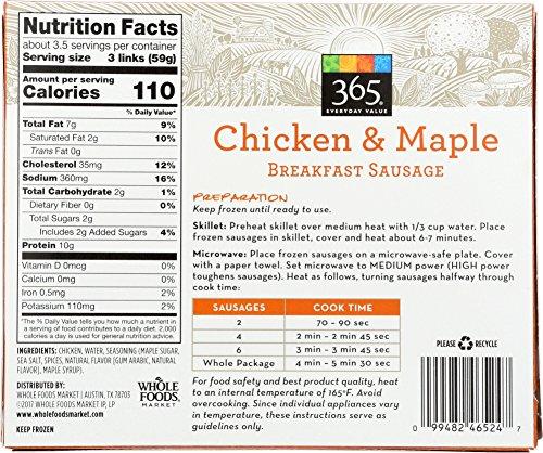 365 Everyday Value Chicken Maple Breakfast Sausage Frozen 10