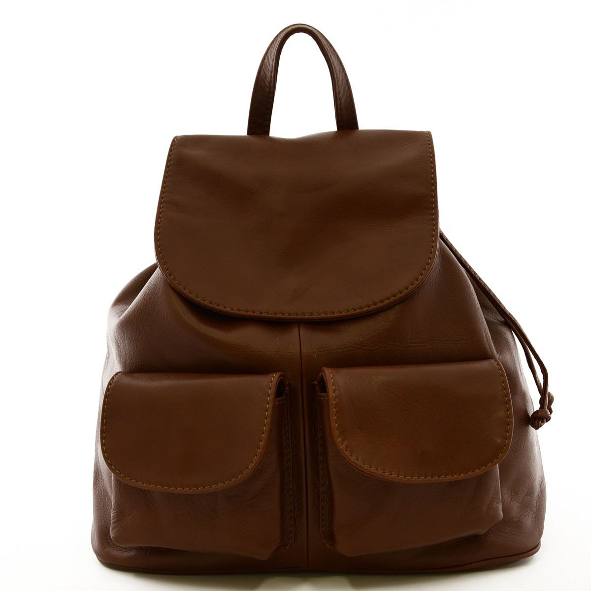 Made In Italy Woman Leather Backpack Model Large Color Dark Brown - Backpack   B0183BGS6W