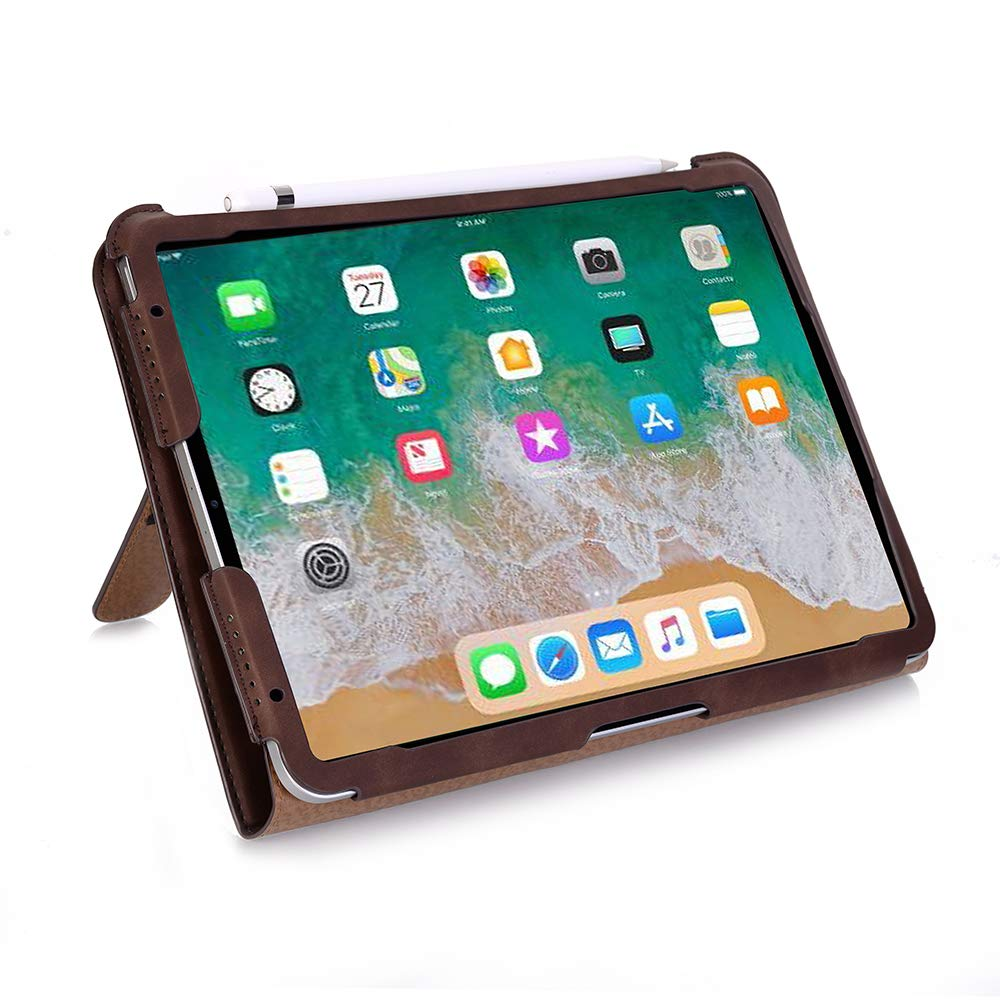 TechCode iPad Pro 11 inch Case 2018, Premium PU Leather Smart Stand Case Slim Fit Cover with Card Slots & Hand Strap(Support 2nd Gen iPad Pencil Charging) Sleeve for iPad Pro 11 inch 2018, Dark Brown
