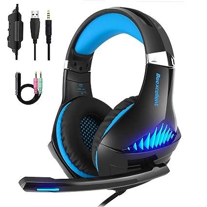 Gaming Kopfhörer LANSRAYOL Gaming Headset mit Mikrofon LED-Beleuchtung für PC, Xbox One, Nintendo Switch, PlayStation 4, Hand