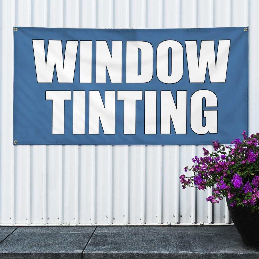 Multiple Sizes Available 28inx70in Vinyl Banner Sign Window Tinting Auto Car Advertisement Marketing Advertising Blue 4 Grommets Set of 2
