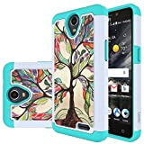zte prelude silicone case - ZTE Prestige 2 Case, ZTE Maven 3 Case, ZTE Prelude Plus Case,ZTE Overture 3 Case, LEEGU [Shock Absorption] Dual Layer Heavy Duty Protective Silicone Plastic Cover Rugged Case - Love Tree
