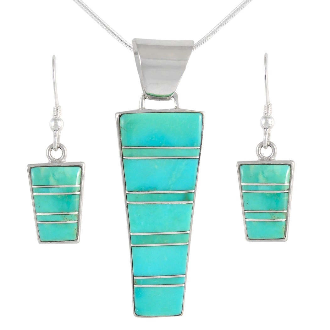 Genuine Turquoise Matching Set in Sterling Silver (Pendant, Earrings, 20'' Necklace) Turquoise